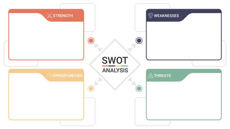 SWOT diagram with 4 rectangular elements. Comparison strengths, weaknesses, opportunities and threats of company or personal. Flat infographic design template. Vector illustration strategic business
