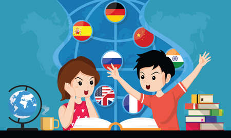 Schoolkids openning book. Concept of back to school, education, imagination. Student boy and girl reading about Languages, supplies and learning. Horizontal web banner template. Vector illustration