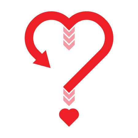 Red question mark symbol with heart sign shaped point isolated on white background. Love, relationship, decision and help concept. Flat icon design. EPS 10 Vector illustration Ilustração