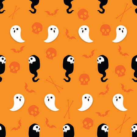 Abstract seamless halloween pattern for girls or boys. Creative vector background with ghosts, bats, skulls and bones. Funny pattern for textile and fabric. Vector fashion halloween theme. Colorful bright illustration