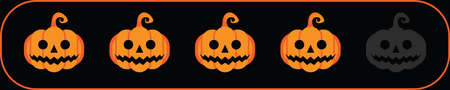 Four rate pumpkins icon for review scary or creepy story contents on internet, website or mobile application. Online feedback 5 vote scale Halloween jacks symbol rating or ranking concept. Vector illustration