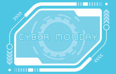 Cyber monday sale background or Cyber monday discount banner. Special offer sale tag discount, retail price sticker promotions sign. Design, emblem, brochure, card, ad or badge. Isolated vector illustration