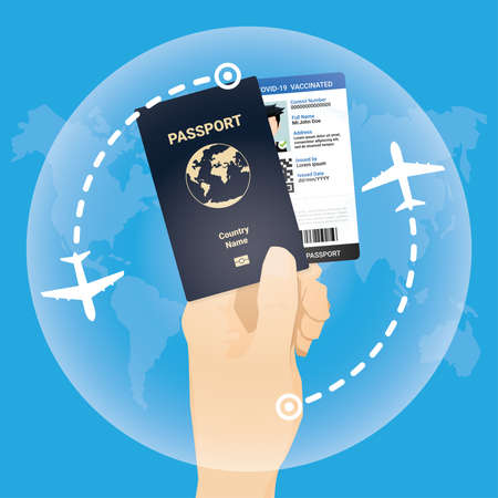 Immunity vaccinated passport for travel during virus pandemic concept.