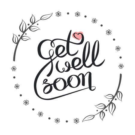 Vector calligraphy image. Hand drawn Get well soon lettering card. Vectores