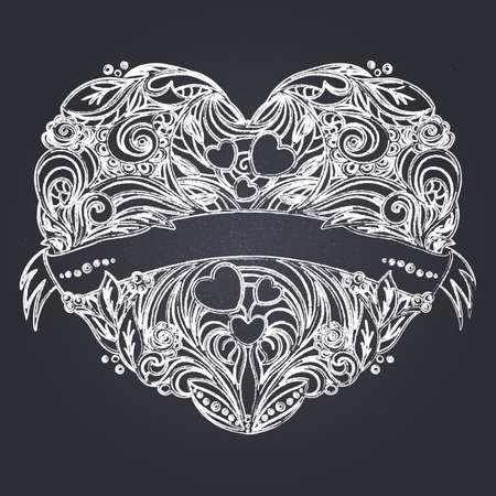Decorative heart with floral pattern and ribbon. Chalk on blackboard drawing imitation. Hand drawn vector graphics illustration. Fully editable vector shapes.