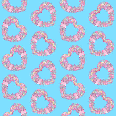 Seamless pattern design with hearts. Can be used as background, on packaging paper or textile. Freehand drawing.Vector graphics illustration.