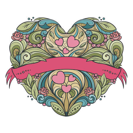 Decorative heart with floral pattern and ribbon. Hand drawn vector graphics illustration.  Fully editable vector shapes.