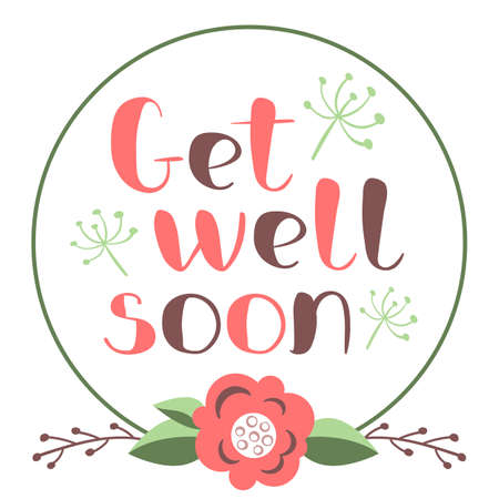 Get well soon card with hand drawn lettering. Decorative poster with handwritten inscription. Vector graphics illustration. Editable vector shapes  イラスト・ベクター素材