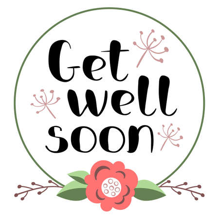 Get well soon card with hand drawn lettering in decorative poster with handwritten inscription in editable vector shapes.
