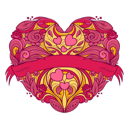 Decorative heart with floral pattern and ribbon. Hand drawn vector graphics illustration. Fully editable vector shapes. Vettoriali