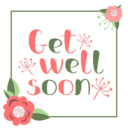 Get well soon card with hand drawn lettering. Vectores