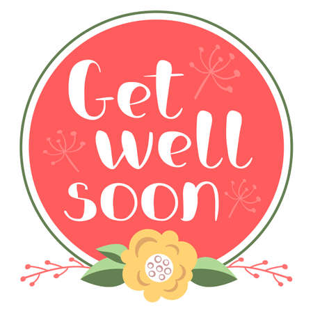 Get well soon card with hand drawn lettering. Stock Illustratie