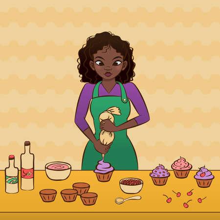 Young african woman decorating cupcakes. Illusztráció