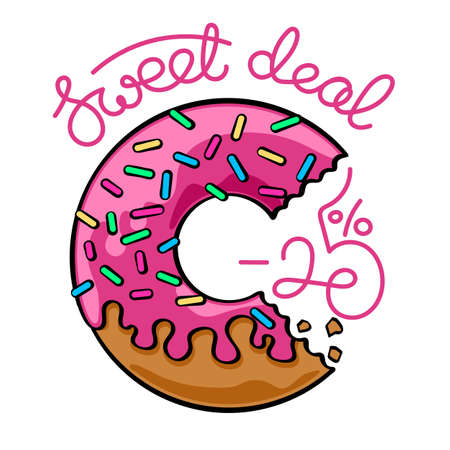 Sale banner with handwritten text and bitten donut illustration.
