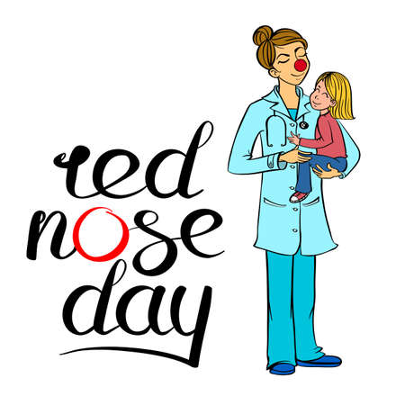 Female doctor wearing a red nose and holding a child. Health worker wearing a red nose and interacting with a child. Editable vector graphics illustration. Illustration
