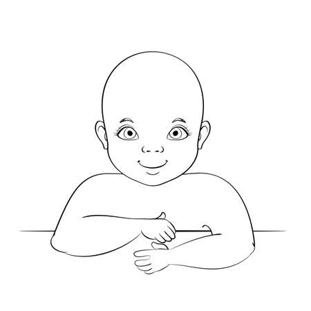 Smiling caucasian baby portrait. Toddler leaning over the edge. Black and white line art freehand drawing. Vector graphics illustration. Illusztráció