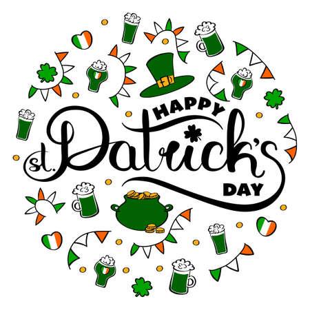 Happy St. Patricks Day hand drawn logo with traditional celebration symbols.