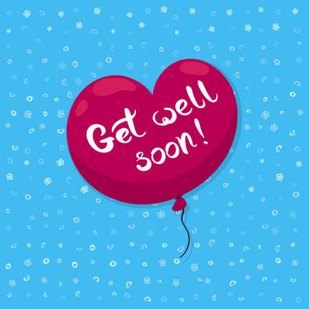 Get well soon card with heart shaped balloon and hand drawn lettering. Decorative poster with handwritten inscription. Editable vector graphics illustration. Stock Vector - 98907092