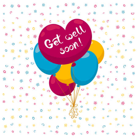 Get well soon card with heart shaped balloon and hand drawn lettering. Decorative poster with handwritten inscription. Editable vector graphics illustration. Stock Illustratie