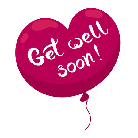 Get well soon card with heart shaped balloon and hand drawn lettering. Decorative poster with handwritten inscription. Editable vector graphics illustration.  イラスト・ベクター素材