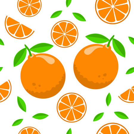 Seamless pattern design with oranges on white background. Can be used as background, on packaging paper or textile. Illustration