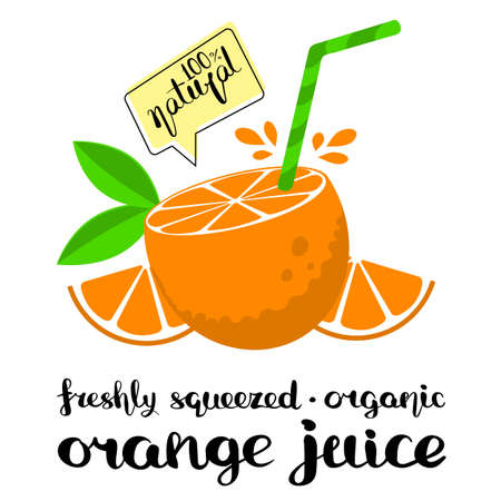 Cut oranges and drinking straw composition signed fresh orange juice. Flat style illustration with handwritten inscription. Ilustracja
