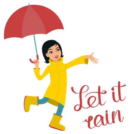 """A girl with umbrella stretching her hand out to feel the rain drops plus """"Let it rain"""" handwritten inscription. Flat style illustration."""