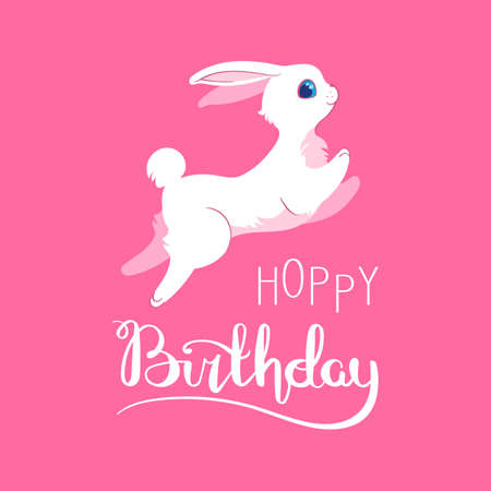 Silly Bunny Poster With Handwritten Inscription Hoppy Birthday