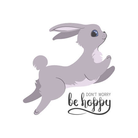 Silly bunny poster with handwritten inscription. dont worry be hoppy card with hand drawn lettering.   Flat style illustration isolated on white background. Editable vector graphics in EPS 8. Illustration