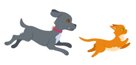 Cat running from dog. Flat style isolated illustration on white background. Editable vector graphics in EPS 8. Vectores