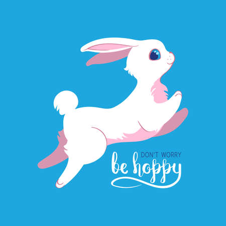 Silly bunny poster with handwritten inscription. dont worry be hoppy card with hand drawn lettering.   Flat style illustration. Editable vector graphics in EPS 8.