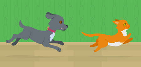 Cat running from dog through the room. Flat style illustration. Editable vector graphics in EPS 8.