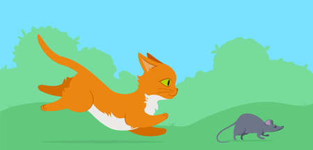 chasing a mouse on a lawn. Flat style illustration.