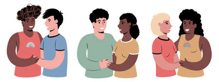 A set of portraits of of happy couples of different gender and skin color. Illustration isolated on white.