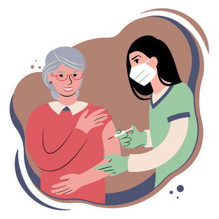 Vaccination procedure. Caucasian female nurse administering a vaccination shot to a patient. Young woman doctor in a face mask holding a syringe and a elderly caucasian woman with outstretched arm. Flat style illustration.