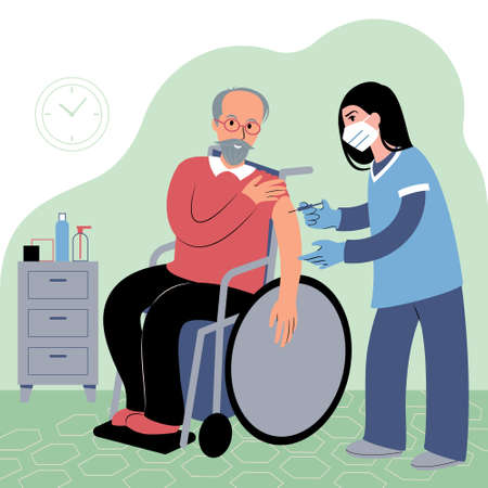 Vaccination procedure. Caucasian female nurse administering a vaccination shot to a patient. Young woman doctor in a face mask holding a syringe and a elderly caucasian man in a wheelchair with outstretched arm. Flat style illustration.