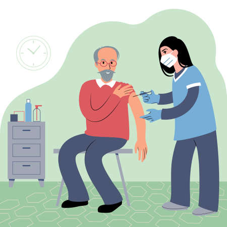 Vaccination procedure. Caucasian female nurse administering a vaccination shot to a patient. Young woman doctor in a face mask holding a syringe and a elderly caucasian man with outstretched arm. Flat style illustration.