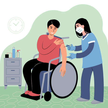 Vaccination procedure. Caucasian female nurse administering a vaccination shot to a patient. Young woman doctor in a face mask holding a syringe and a young caucasian man in a wheelchair with outstretched arm. Flat style illustration.