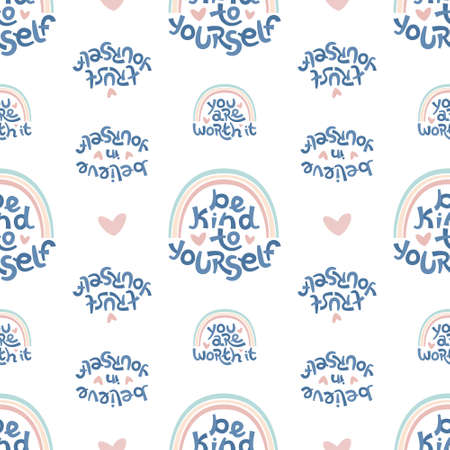 Seamless pattern made of positive thinking quotes promoting self worth and self care. Ilustração Vetorial