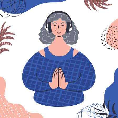 Audio guided meditation. Senior caucasian woman relaxing in headphones.