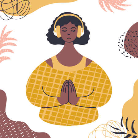Audio guided meditation. Young african woman relaxing in headphones.