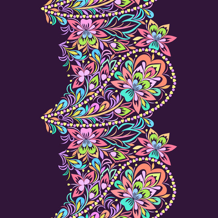 Seamless lace pattern with paisley and flowers. Traditional colorful ethnic ornament