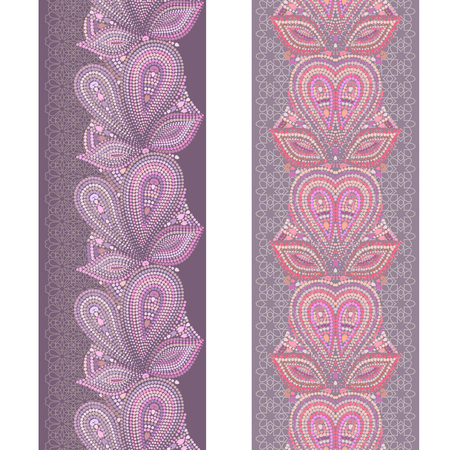Vertical seamless border with paisley and dots. Vector print for ribbon, stripes. Illustration