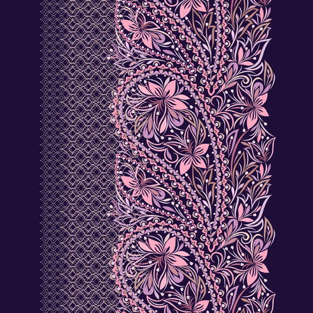 Lace paisley vertical seamless pattern. Beautiful ethnic ornament . Vector print. Use for braid, tape, ribbon. Stock Illustratie