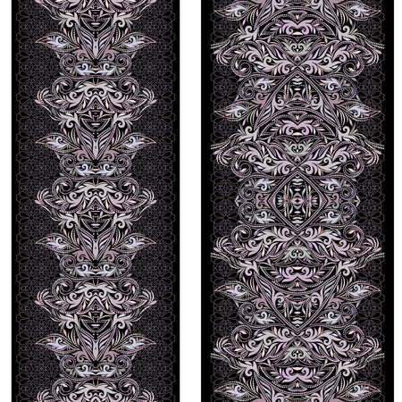 Black and white lace vertical seamless pattern with ethnic decorative elements. Vector set of 2. Use for embroidery, braid, tape, ribbon Illustration
