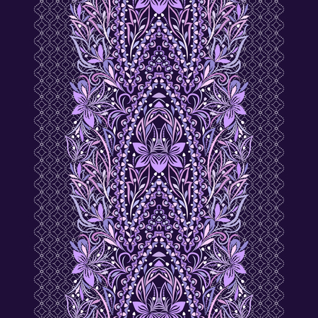 Seamless purple lace pattern with flowers. Traditional ethnic ornament. Vector print. Use for wallpaper, pattern fills,textile design. Stock Illustratie
