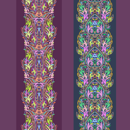Vertical seamless lace pattern with flowers and ethnic elements. Vector set of 2. Burgundy background. Use for embroidery, braid, tape, ribbon Stock Illustratie