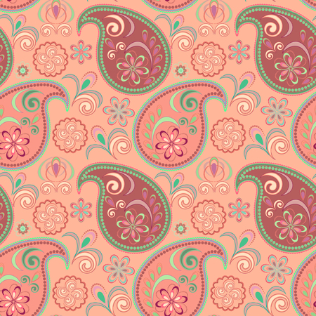 Seamless colorful pattern with paisley. Traditional bright ethnic ornament. Vector print. Use for wallpaper, pattern fills,textile design. Illustration