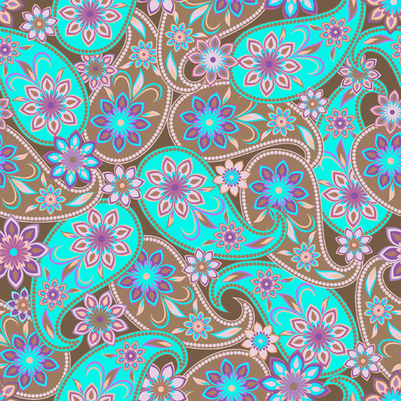 Seamless colorful pattern with paisley. Turquoise ethnic ornament. Vector print. Use for wallpaper, pattern fills,textile design.