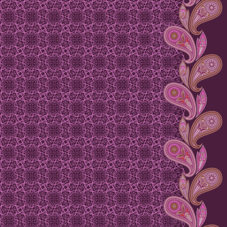Lace paisley vertical seamless ornamental pattern. Beautiful ethnic picture . Vector print. Use for braid, tape, ribbon.